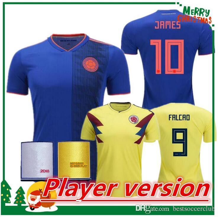 san francisco 252ac e2cc8 Player version 2018 Colombia Soccer Jerseys Russia World Cup Jersey 10  JAMES FALCAO 11 CUADRAD 8 AGUILAR 13 GUARIN 6 SANCHEZ Football Shirt