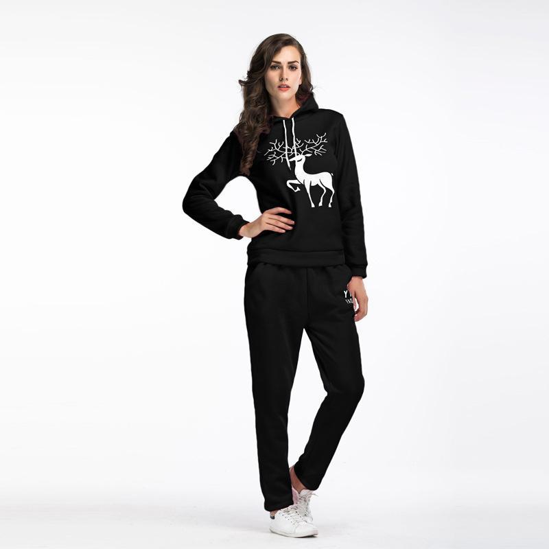 0433510d9c5 2017 Women Tracksuits Designer Sweatshirt+Pant Sets Thick Warm Deer ...