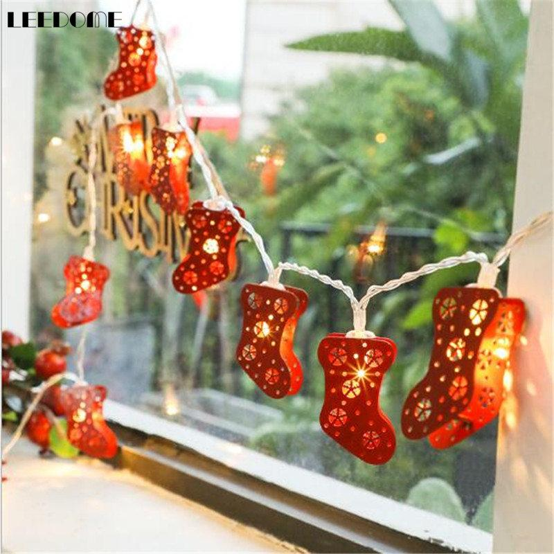Vacances De Lumineuse Dropship Chaussettes Rouge Maison Led Corde Noël À Fée Décoration Guirlande 3m Lumière La 20led Piles Lampe 7gbY6yfv