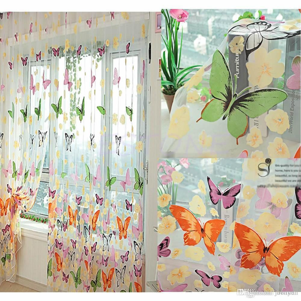 2018 Home Bedroom Decor Romantic Butterfly Curtains Cheap Ready Made  Finished Organza Child Door Window Curtain For Living Room C42 From Benyen,  ...