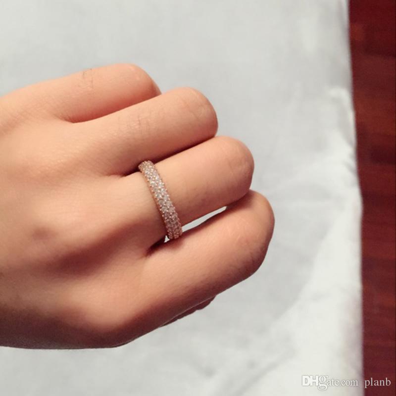 100% de prata esterlina 925 anéis com zircão cúbico caixa original para pandora anel de moda para o dia dos namorados rosa de ouro anel de casamento mulheres