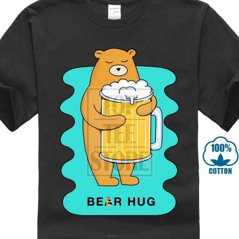 Compre Más Barato Divertido De Dibujos Animados Camisetas Hombres Oso Lindo  Cerveza Abrazo Camisetas Moda Hombre Tops Camisetas Hip Hop Street Style ... 6b926eadf3971