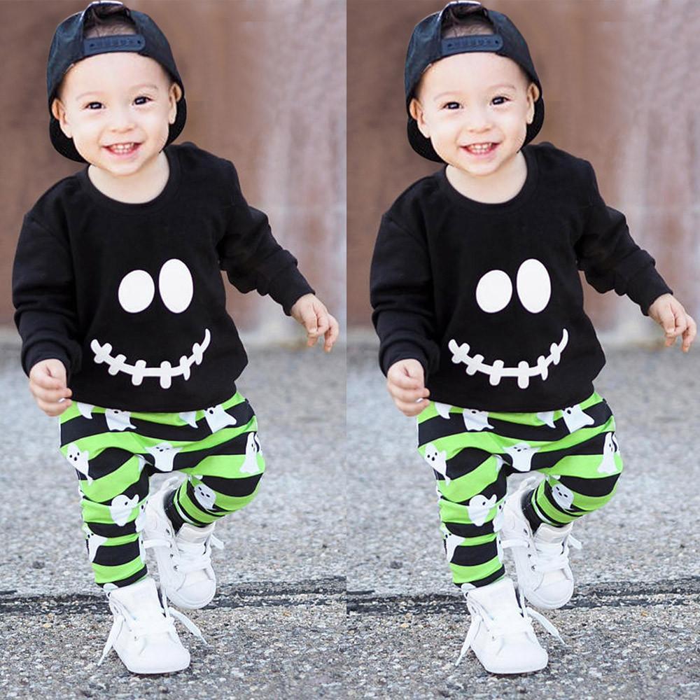 1477487b4 Niño pequeño Bebés y niñas Fantasmas de dibujos animados Tops Pullover  Pants Disfraces de Halloween Conjunto de ropa para niños pequeños roupas ...
