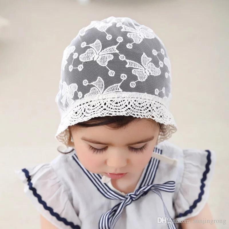 ca1fdb99664 Butterfly Partten Thin Lace Baby Cap Summer Spring Fall Travelling ...