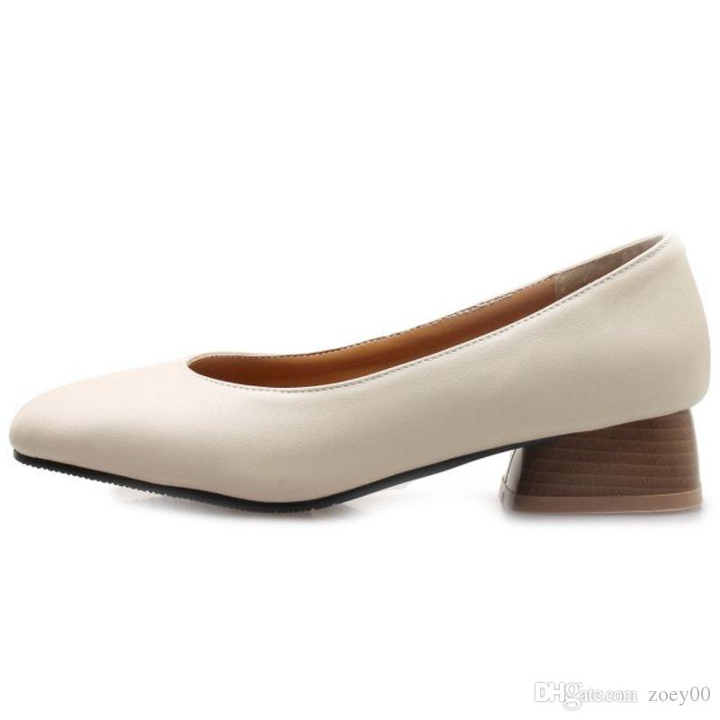Smilice 2018 Woman Casual Pumps with Chunky Heel and Square Toe Simple Design Elegant Working Chic Shoes with Large Size Available A240