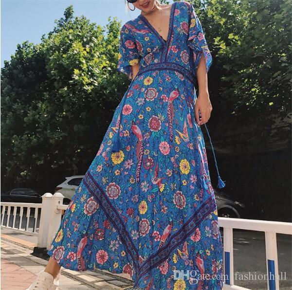 fb2e24f3b807 Summer Maxi Dress V Neck Bohemian Vintage Floral Print Beach Dresses For Women  Lovebird Hippie Gypsy Sexy Blue Gown Dresses Online Graduation Dresses From  ...