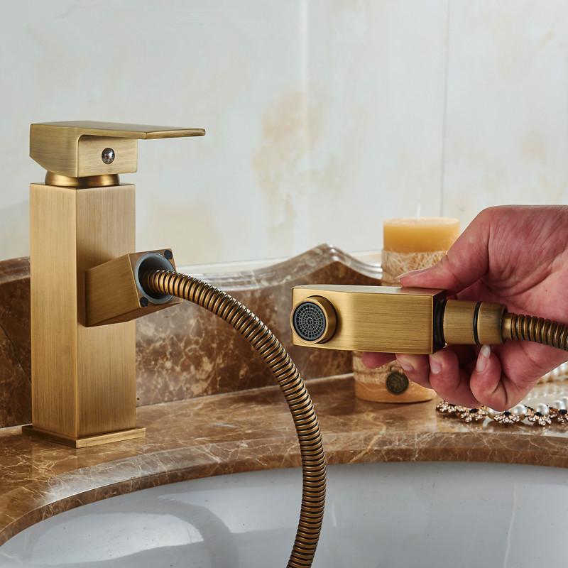 2018 Antique Brass Basin Faucet Pull Out Faucet Vintage Bathroom ...