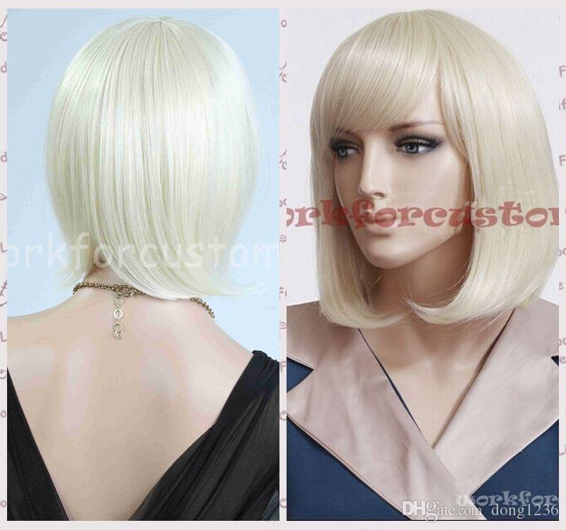 Sexy Women Short Hair Cosplay Costumes Wigs Light Blonde White Wig