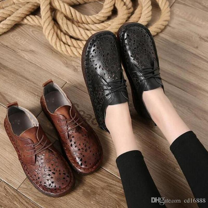 Most popular lace Breathable comfortable women flat shoes 2018 new fashion spring summer retro handmade soft real leather shoes casual flats