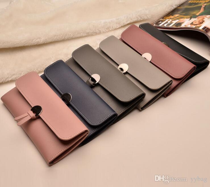 Explosive models Women's long wallet Korean version Multi-card position Buckle 3 fold Soft leather wallet Card package