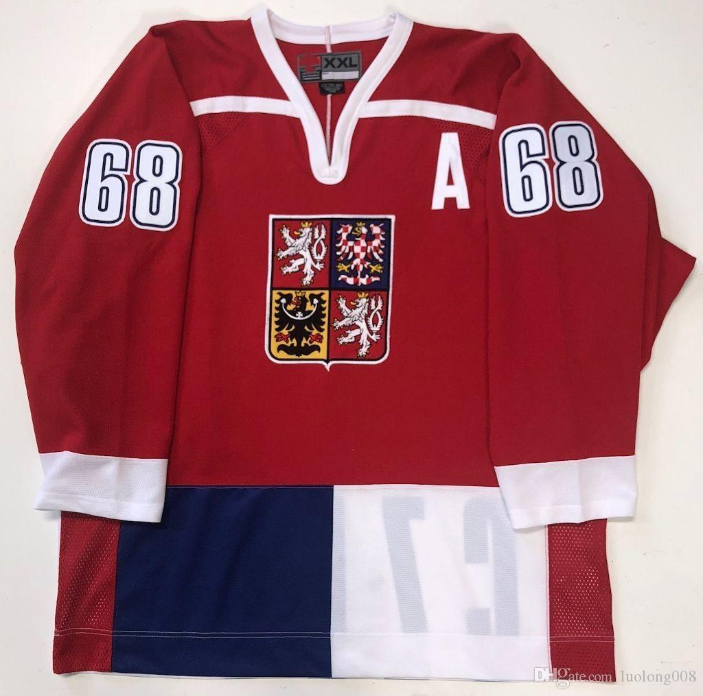 628f0cfb621 2019 2018 NEW 68 JAROMIR JAGR CZECH REPUBLIC Hockey Jersey Embroidery  Stitched Customize Any Number And Name Jerseys From Luolong008