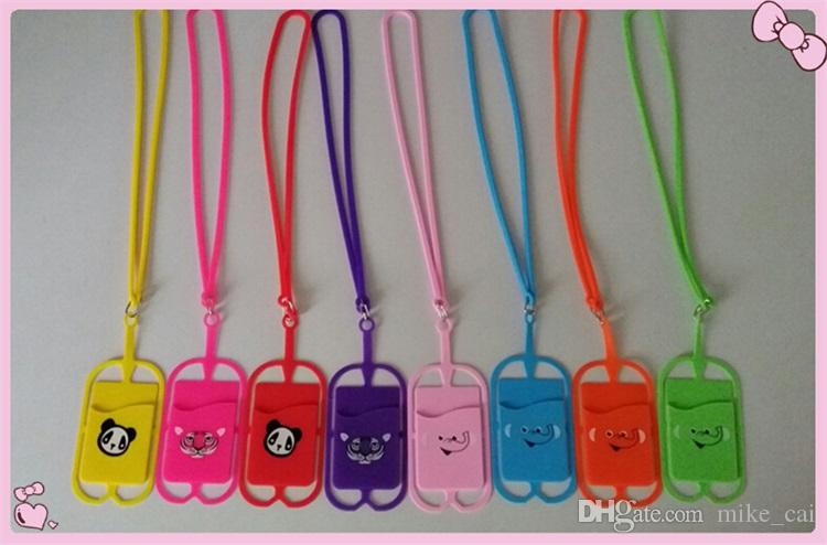 Mixed colors Universal Lanyard Neck Strap Cell Phone Case lanyard with card holder for all Smartphones