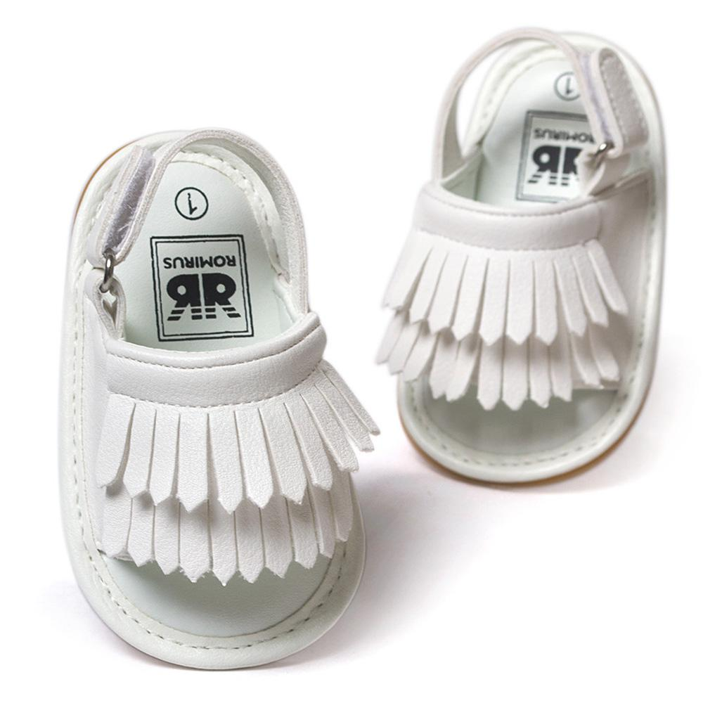 f02b44c43a ROMIRUS Baby Shoes Sandals Casual Fashion PU Tassel Sandals For Children  kids Girls Boys White Color