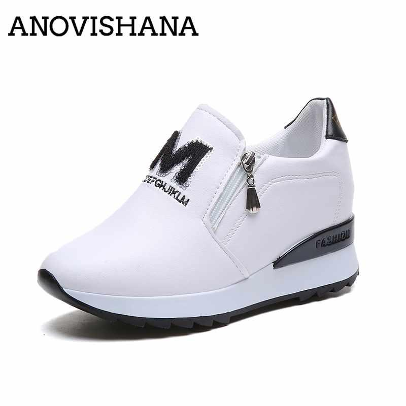 4974e5fe72a61 Wholesale 2019 New Fashion Zipper Sneakers Casual Sneakers Internal  Increase Rubber Shoes Botas Mujer Mixed Colors Autumn H376 Online with   77.73 Pair on ...