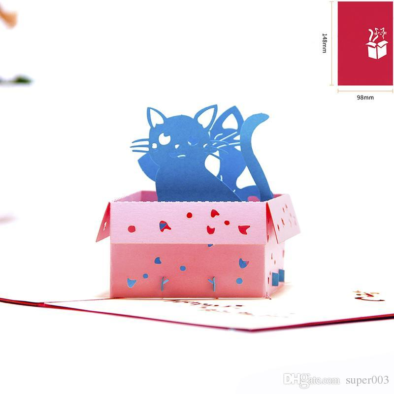 Birthday Card Kids Cats Handmade Thank You Card 3d Greeting Card For