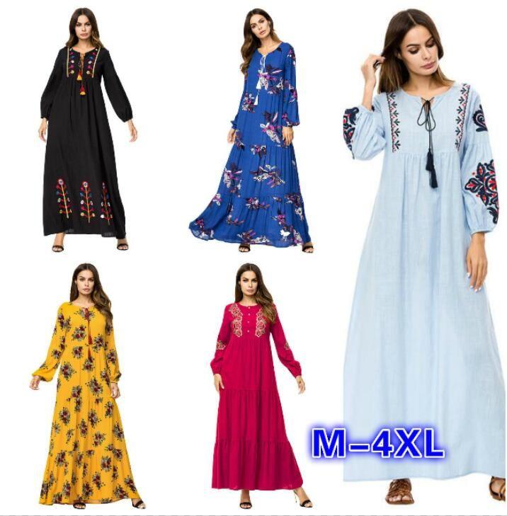 Muslim Women Fashion Large Size Abaya Dress Ankle Length Dress Long Sleeve  Islamic Clothing Modest Wear Embroidery Plus Size Maxi Dress 4XL Lace  Sundresses ... 4e4e9910b