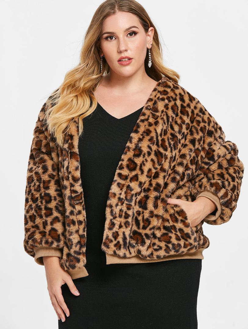 31f675282e9 2019 Wipalo Plus Size Casual Leopard Faux Fur Jacket Women Coat Winter Warm  Women S Coats Collarless Women S Outerwear Female Jackets From Weilad
