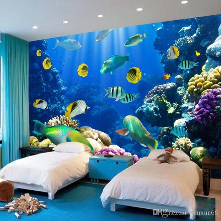 Cute Marine Fish Photo Wallpaper 3D Custom Size Underwater