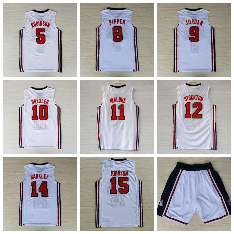 aaa502f97700 2019 1992 USA Dream Team Robinson Ewing Bird Pippen MJ Clyde Drexler Malone  Stockton Mullin Barkley Johnson Stitched Jersey Shorts College Sale From  Wsj5757 ...