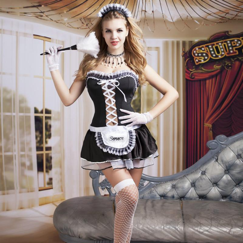 a7c853bef9aa8 Women Sexy Nite French Maid Costume Room Service Cosplay Outfit Sexy  Halloween Servant Costumes for Adult Women 9729