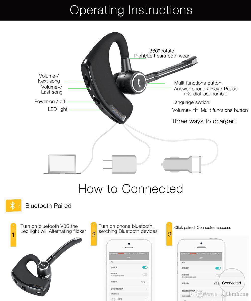 Dropshipping V8S Business Bluetooth Headset Wireless Earphone Car Bluetooth  V4 1 Phone Handsfree MIC Music For IPhone Xiaomi Samsung Best Cell Phone