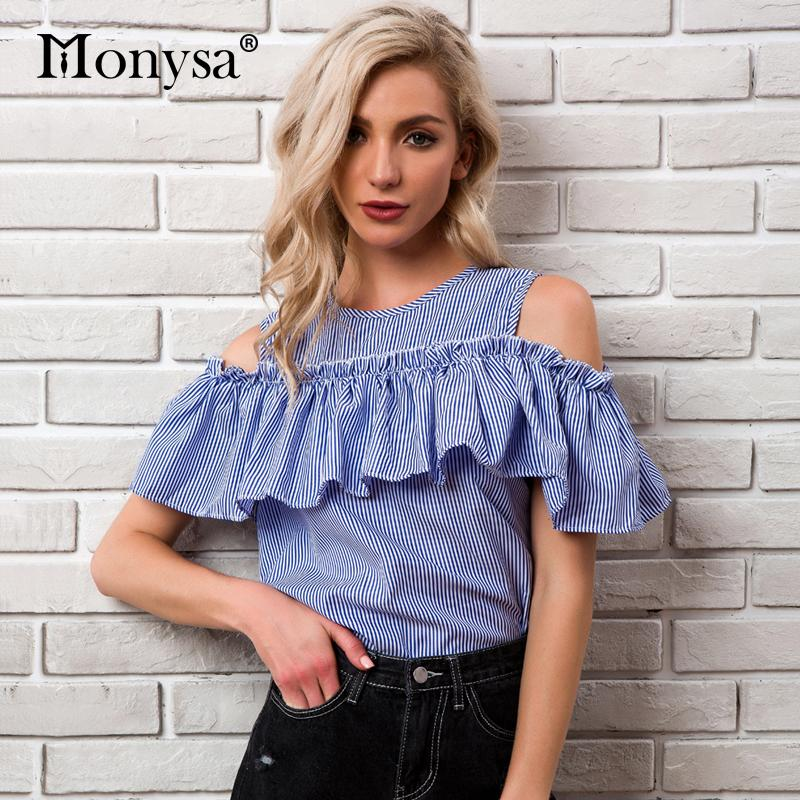 364a14fe7df 2019 Casual Striped Cold Shoulder Tops For Women 2018 Summer New Arrivals  Ruffles Sleeve Blouses Ladies Fashion Streetwear Blouses From Cyril03