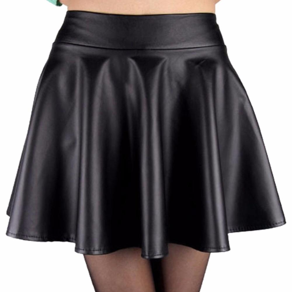 3e4228afa60 2019 Women High Waist Faux Leather Mini Skirt Above Knee Solid Color Flared  Pleated Short Women  Skirt New Sale From Beasy114