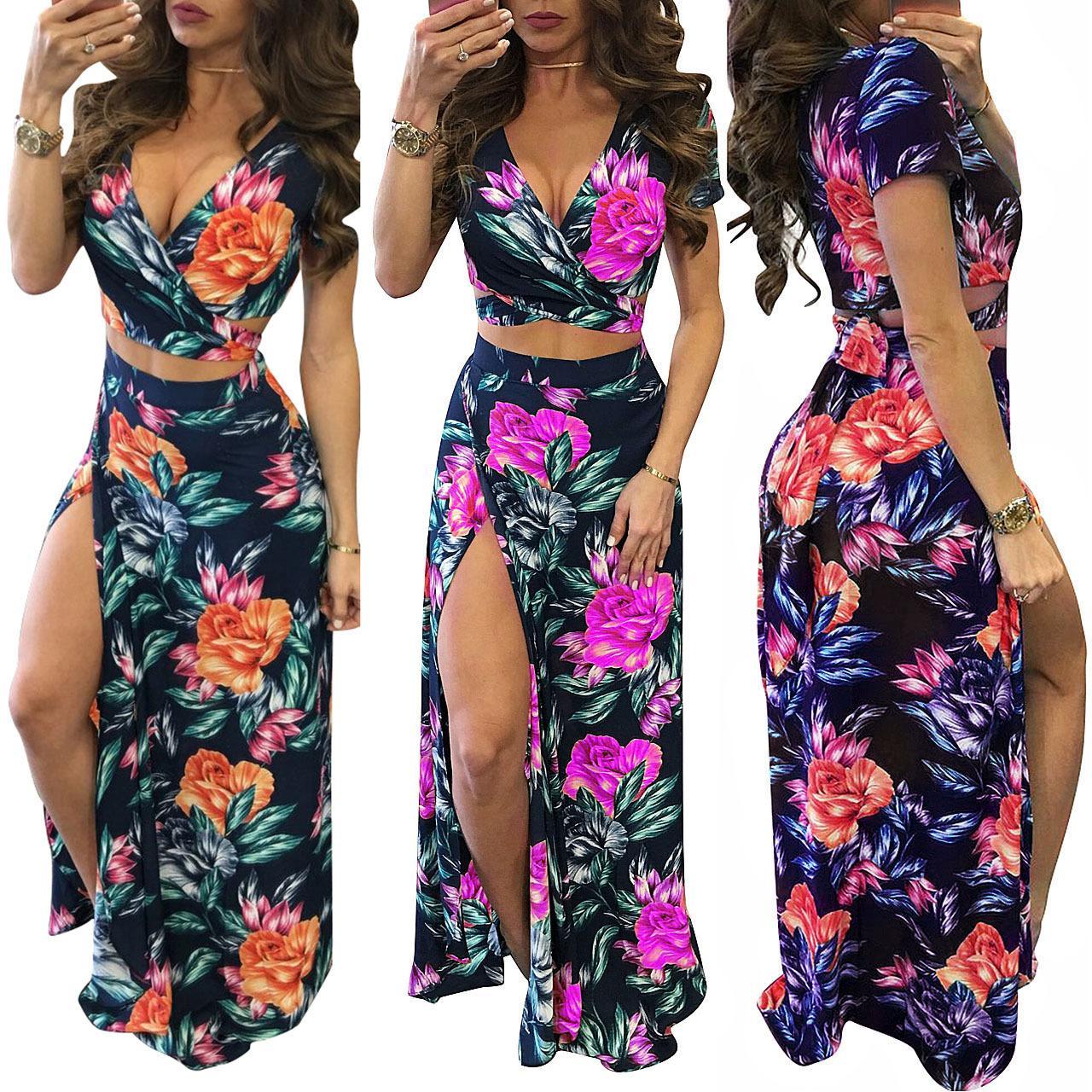 95d5e39fa6 2019 Women Summer Floral High Slit Long Dress Printed Maxi Beach Dress  Female Crop Top Two Piece Set Sundress Vestidos From Huiwu