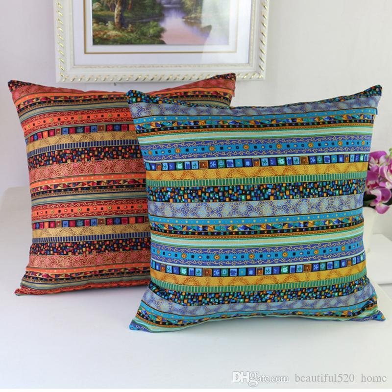 Square Ethnic Style Decorative Pillowcase Fashion Farmhouse Pillow Covers Sofa Cushion Covers Coffee Shop Throw Pillow Sham BH18018