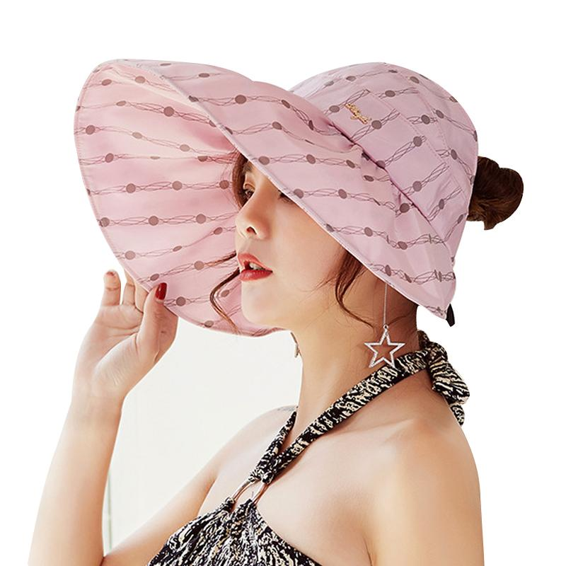 Fashion Dots Summer Hats For Women Travelling Headwear Beach Caps Visors  Chapeau Panama Sun Hat Girls Cap Lady Wide Brim Topee Mens Hat Styles Hat  From ... 53658f5929a9
