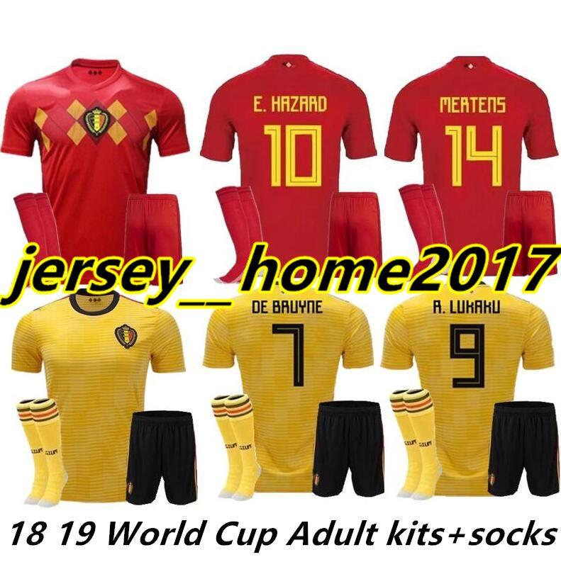 2018 World Cup Belgium Soccer Jersey Full Kit Shorts Socks Home Red ... 4ef14bafd