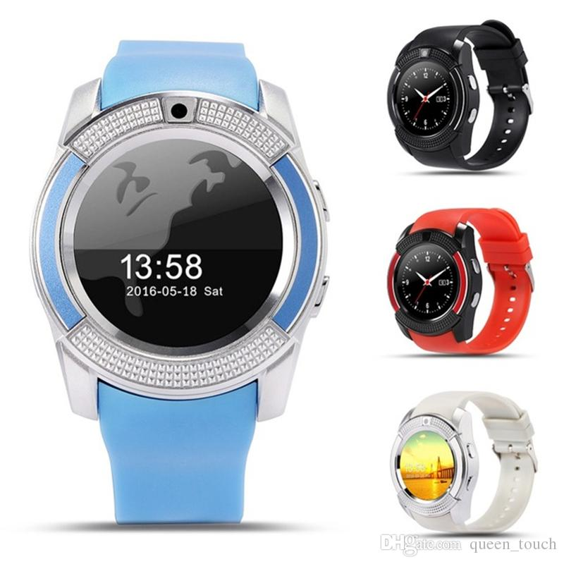 V8 Smart Watch Bluetooth Watch Clock With Sim TF Card Slot Suitable For IOS  Android Phone Smartwatch IPS HD Full Circle Display MTK6261D