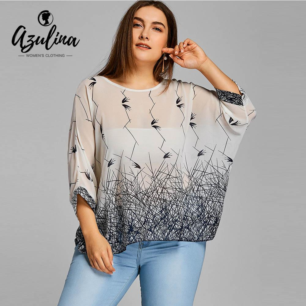 b55845b479e 2019 AZULINA Plus Size Blouses Shirts Women Chiffon Batwing Sleeve Long  Blouse 2018 Summer Spring Fashion Casual Top Big Size Blusas From Keviny,  ...