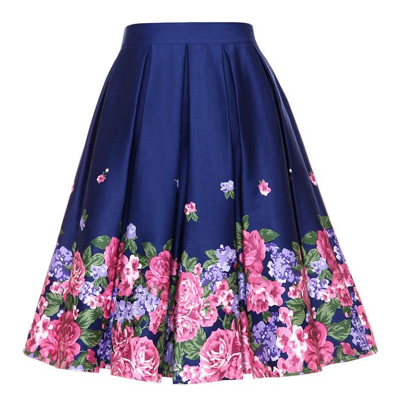 d55251adc5 Compre Falda De Mujer De Verano Vintage Peach Blossom Estampado Floral De  Cintura Alta Vestido De Bola Plisada Midi Skater Faldas Blanco   Azul A   24.65 Del ...