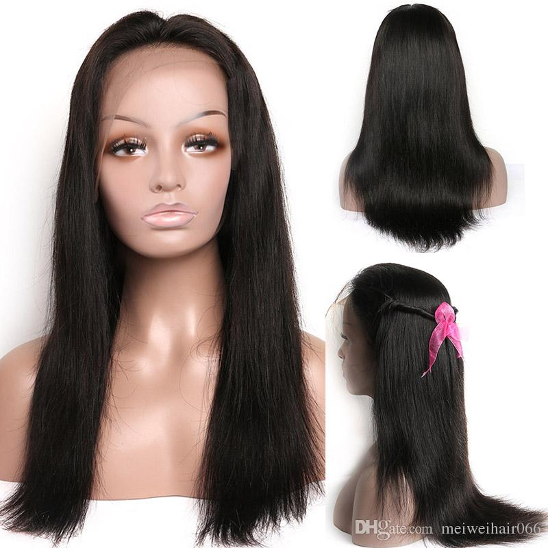 100% Unprocessed Human Hair Lace Wigs for Black Women 8A Brazilian Straight Lace Front Wigs with Baby Hairs Bleached Knots