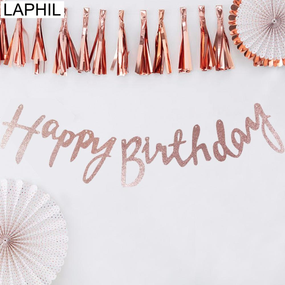 LAPHIL Rose Gold Happy Birthday Banner 18th 21st 30th 40th 50th Party Decorations Adult 30 40 50