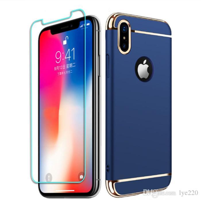 Etui De Telephone Portable Pour Iphone X 8 7 6 6 S Plus Hard Cover Case 360  degrés De Protection De Couverture Complète Avec Verre Trempé Pour Samsung  S8 ... 2e94072ded2