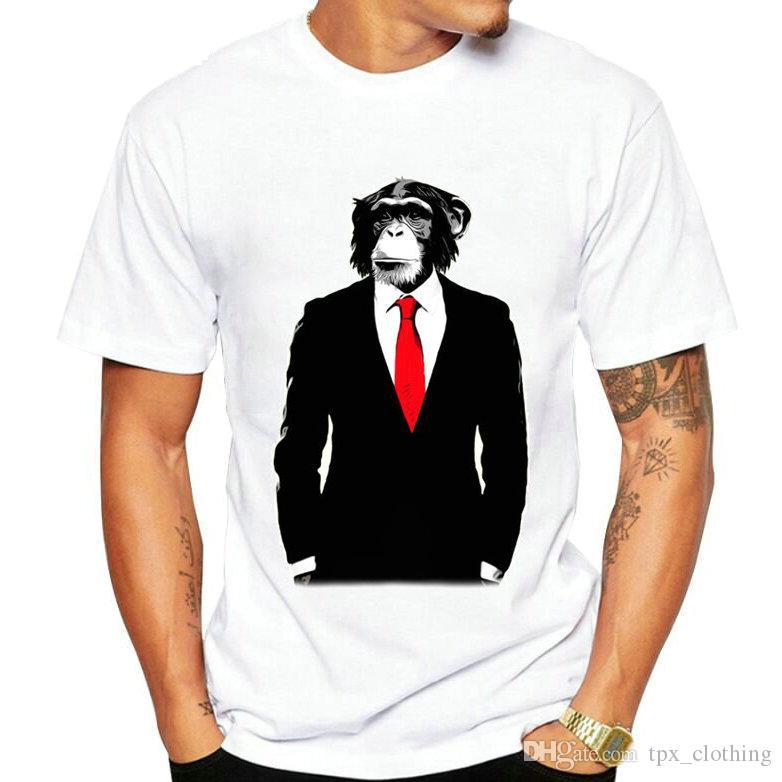 e9ead37694ec9 Tee-shirt d affaires singe t-shirt Gentleman orang-outan à manches courtes  robe Street tees