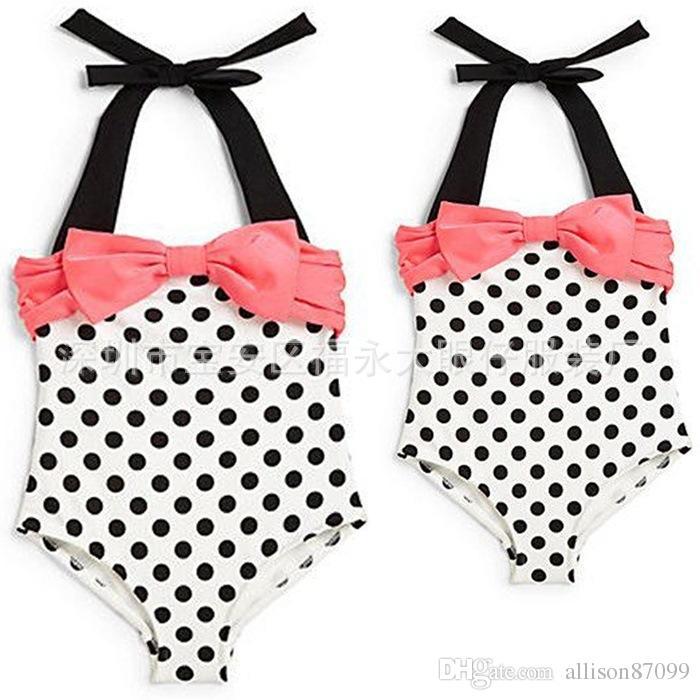 cf58d2b238645 Ins Baby Girl Swim Wear Sweet Dots Bow Swimsuit One-piece Halter ...