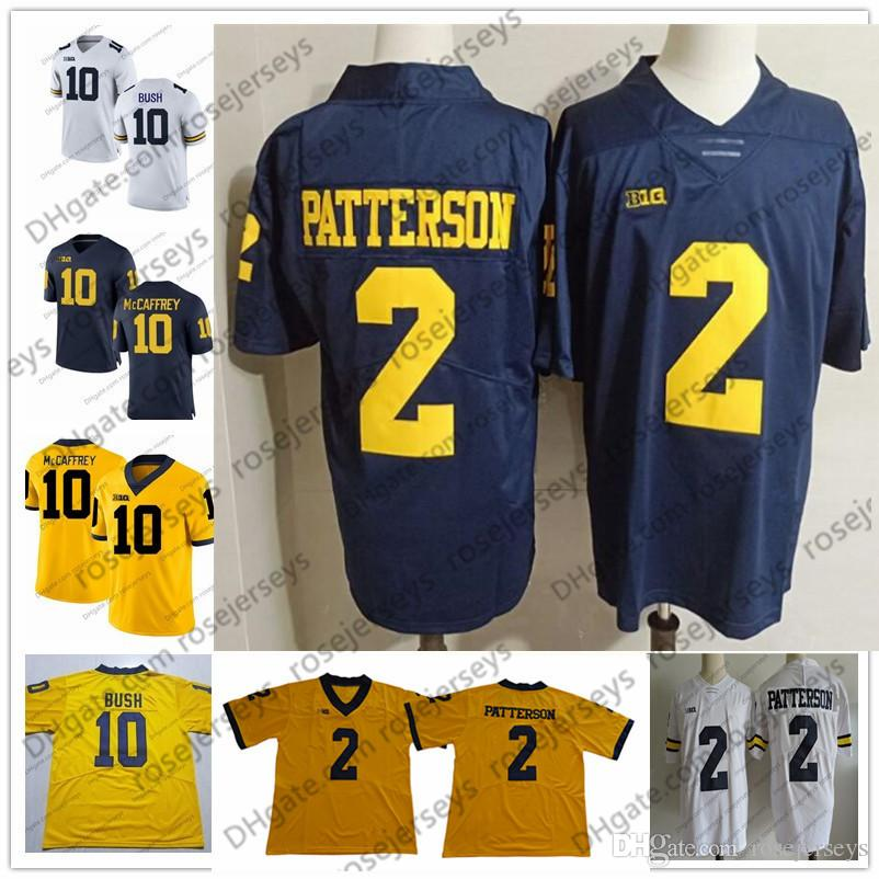 sports shoes f4813 25a6e 2019 Michigan Wolverines #2 Shea Patterson 10 Dylan McCaffrey Devin Bush 3  Rashan Gary 5 Peppers Brady Woodson White Navy Blue Yellow Jersey