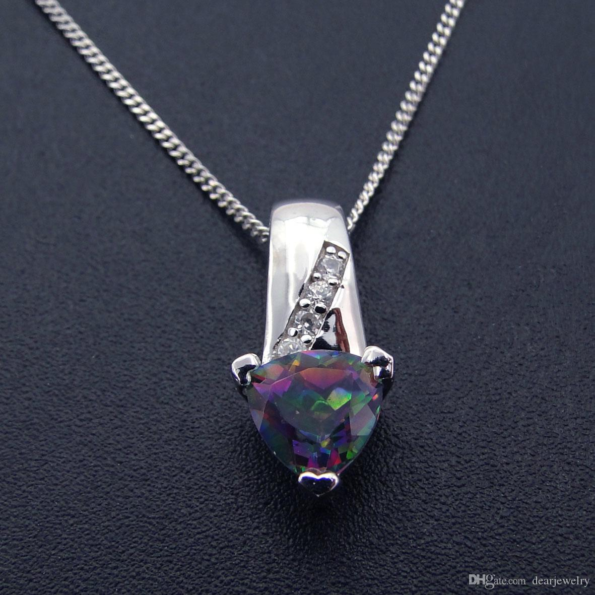 f65344b682e8c Fashion jewelry 925 Sterling Silver Mystery topaz zircon Pendant Rhodium  plated Engagement gift DR01407177P Free Shipping