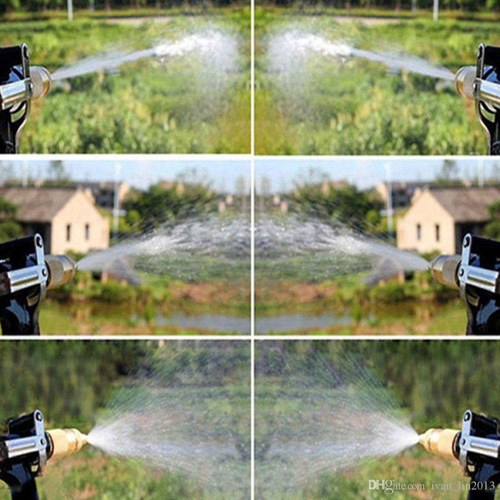 Envío libre de alta presión pistola de agua Spray plástico cobre boquilla para lavado de coches jardín riego jardín Auto Brass Metal precio al por mayor