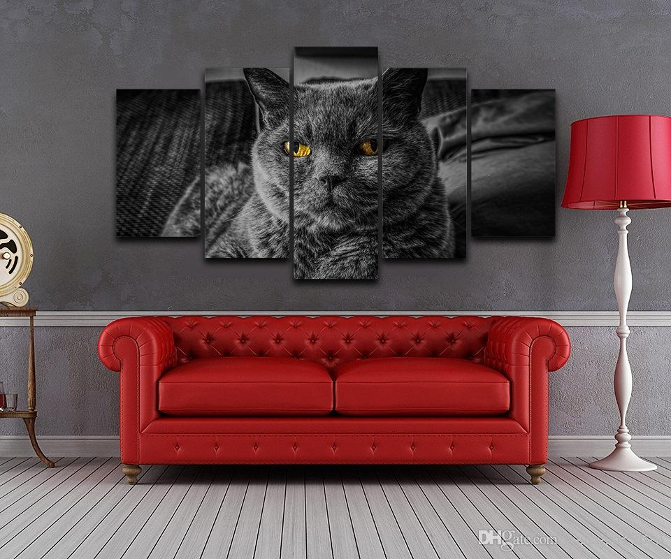 Black Cat Spray Oil Painting Decoration for Home Artistic Print Drawing Decor on Canvas Framed Printed wall art picture AE1190