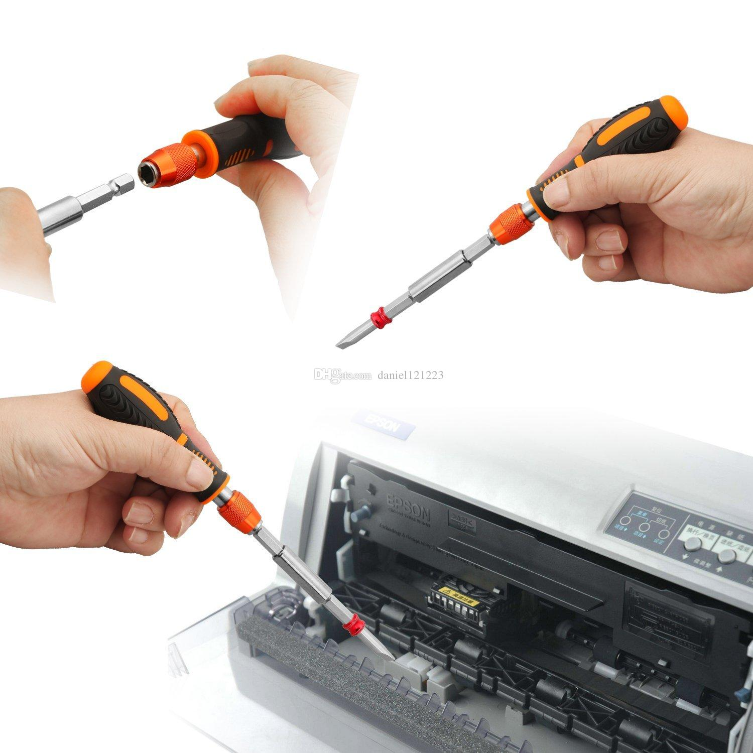 12 in 1 Magnetic Screwdriver Set includes 10 Strong Magnetic Bits, Anti-slip Rubber Handle, 1/4'' Hex Bit Holder