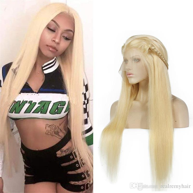 Brazilian Human Hair Honey Blonde 613# Lace Front Wigs For Black Women Silky Straight Full Lace Wigs With Baby Hair Natural Hairline