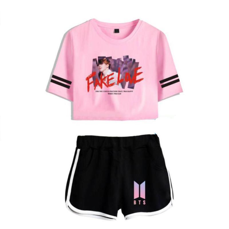 2019 Women Fitness Two Piece Outfits Summer Korean Bts Album Fake
