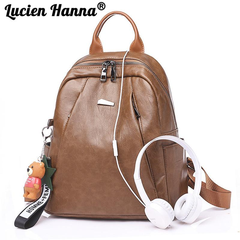 2018 High Quality Women Backpack PU Leathers Casual Cute Bear Pendant Double Shoulder Bag Backpacks Zipper Female Travel Bags