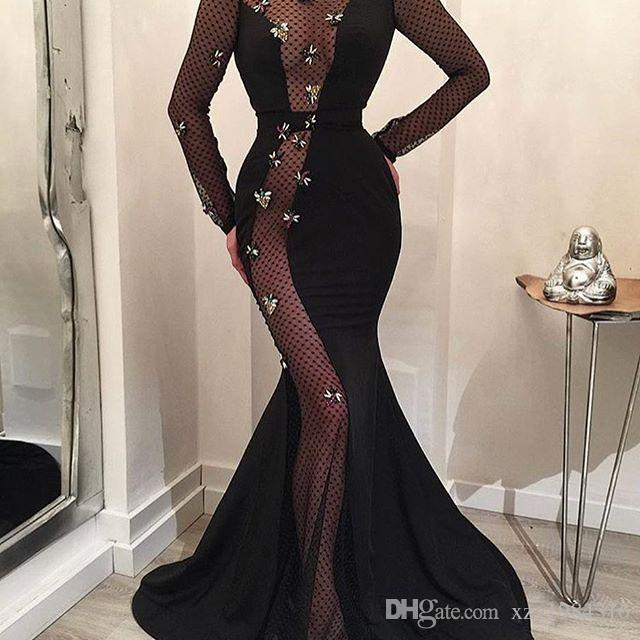 Gorgeous Dubai Rhinestone Evening Dress Beads Crystal Jewel Neck Long Sleeve Evening Gown Sexy Side See Through Mermaid Prom Dress