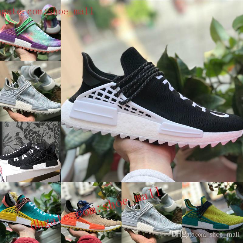 newest collection 09ccf fd4ee Compre 2018 Nuevos Originales Adidas Nmd Shoes Pharrell Williams Raza  Humana Zapatos Nmd Hombres Mujeres Nmds Negro Blanco Gris Rojo Primeknit PK  Corredor ...