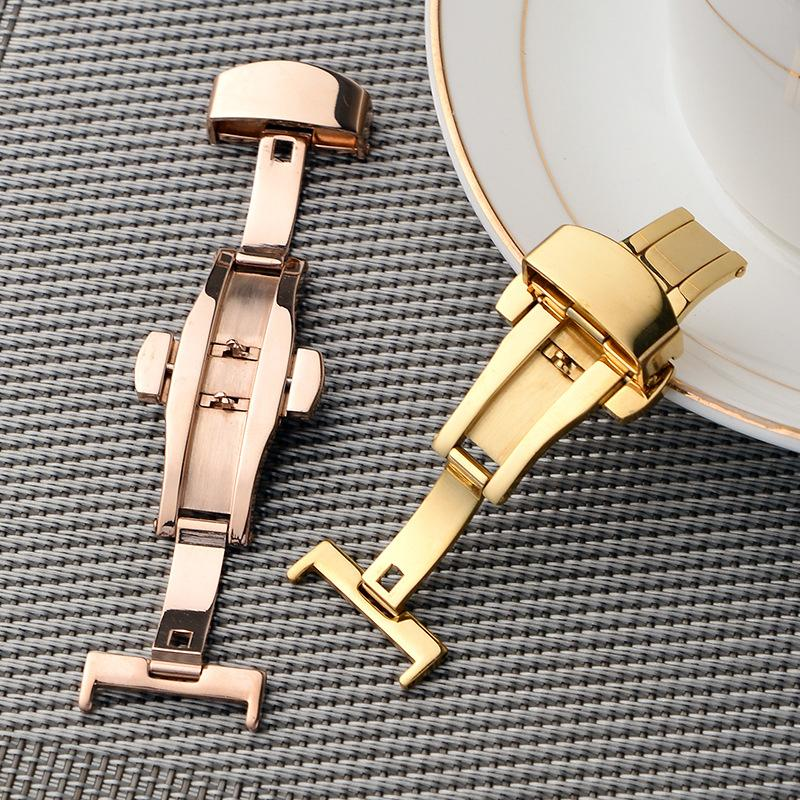 Universal stainless steel Watch Band Push Button Hidden Clasp Butterfly Pattern Deployant Clasp Buckle solid Double press butterfly buckle